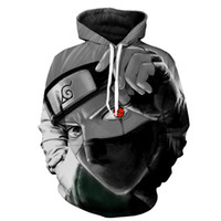 erkekler için anime hoodies toptan satış-Marka erkek Sonbahar Rahat kakashi Hoodie Anime Yangın Gölge Karakter 3D Kazak Hoodie bluz naruto kakashi ceket