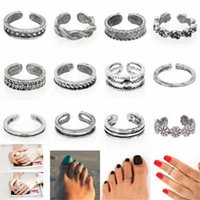 Wholesale 12Pcs set Celebrity Women Fashion Toe Ring Adjustable Foot Finger Beach Jewelry Silver