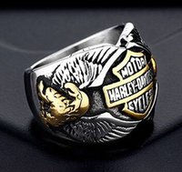 Wholesale motorcycle christmas gifts - fast shipping band party 316 stainless steel cool motorcycles biker mens ring punk hot golden silver biker ring size 7~13