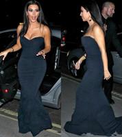 kim kardashian sereia vestido de baile venda por atacado-Chegada nova Kim Kardashian Preto Vestidos de Noite 2019 azul marinho Até O Chão Longo Formal Partido Vestidos Sereia Vestido de Baile Baratos