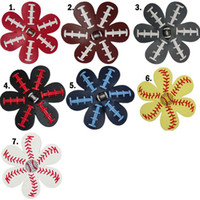 Wholesale Leather Flower Hair Clip - Softball Flower Leather Hair Clips Leather Seamed Softball Hair Bows With Rhinestone Hairs Clip Pin Baseball Hair On Barrette 50pcs LJJO4483