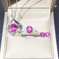 conjunto de jóias de topázio rosa venda por atacado-DJ CH 925 Sterling Silver Jewelry set Natural Mystic Topaz Rosa Oval Cut Colar de pedras preciosas brinco anel define Mulheres Jogo da jóia