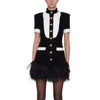 siyah beyaz pist elbiseleri toptan satış-Sonbahar / Kış Siyah ve Beyaz Vestidos Elbise Kadınlar Yüksek Kalite Yeni Varış Pist Mini-elbise Lady Püskül Desen Elbise
