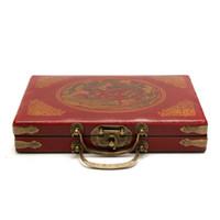 ingrosso pezzi di bambù-144 Mah-Jong Set Portable Retro Mahjong Box Raro pezzo di bambù cinese con scatola NEW Melamina rossa
