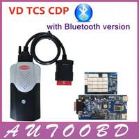 r2 tcs cdp al por mayor-Nuevo 2014.R2 VD TCS CDP Pro Plus con placa azul PCB CDP con Bluetooth + NEC Relé Chip OBD2 OBDII Herramienta de interfaz de diagnóstico de coches