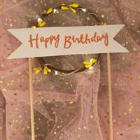 luminous paper venda por atacado-Diy handmade cupcake topper romântico baking decoração suprimentos luminosa guirlanda de natal feliz aniversário led bolo bandeiras moda 8hy b