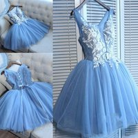 Wholesale printed plus size special occasion dresses online - Delicate Blue Lace Straps A line Homecoming Dress Short Party Gown D Floral Appliques Lace Up Print Special Occasion Dresses Sweet