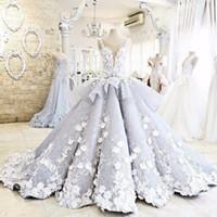 brauthals blume großhandel-So Beautiful Puffy Ballkleid 3-D Blumen Brautkleider schiere Hals Schößchen Luxus Brautkleider Keine Hülse Vestidos De Novia
