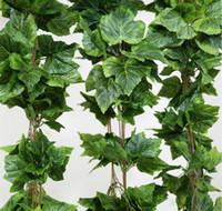 yapay üzüm dekoru toptan satış-20 ADET gibi gerçek yapay Ipek üzüm yaprağı çelenk sahte asma Ivy Kapalı / açık ev dekor düğün çiçek yeşil noel hediyesi