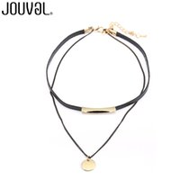 Wholesale Tattoo Neck Chokers - whole saleJOUVAL Fashion Choker Necklace Women Chain Black Leather Collar Statement Necklaces Choker Neck Gothic Tattoo Jewelry Accessory