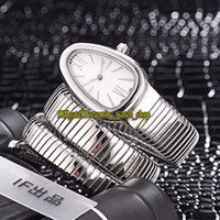 schweizer weißgold großhandel-Luxry New Serpenti Tubogas 101911 SP35C6SS.2T Weißes Zifferblatt Schweizer Quarz Damenuhr Edelstahlgehäuse Armband Fashion Lady Uhren 06