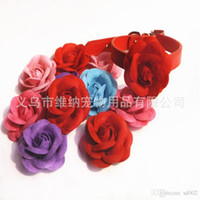 Wholesale rose dog collars resale online - Different Color Dog Collar Rose Flower Shape Easy Carry Pu Leather Collars Pets Leash Wear Resistant Necklace wn HH