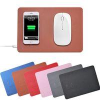кожаные коврики для мыши оптовых-QI беспроводное зарядное устройство коврик для мыши компьютер коврик для мыши быстрая зарядка ультра тонкий искусственная кожа для iphone8 X Xs Max Xr беспроводной зарядки мыши S9