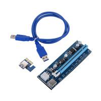 cabo led sata venda por atacado-Para BTC Pcie Ver 009s 60 cm USB 3.0 PCIe Cartão riser PCI-E Express 1x a 16x Extender Riser Card Adaptador USB cabo SATA com Luz LED