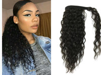 Wholesale ponytails for sale - Deep wave Curly Ponytail hairpiece Free parting wraps pony tail wavy curly human hair unprocessed ponytail hair extension g g natural