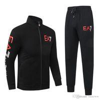 Wholesale men longsleeve - new classic fashion designer high quality pure color Print men cotton longsleeve tracksuit m-3XL