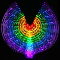 ingrosso ventre della farfalla-Costume da prestazione di danza del ventre colorato LED Accende le ali Accessori per la danza Ragazze Ali di LED Costume Ali a farfalla con bastone