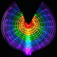 usb ışık sopa toptan satış-Renkli Oryantal Dans Performansı Kostüm LED Işık up Wings Dans Aksesuarları Kız LED Wings Kostüm LED Kelebek Kanatları Sopa Ile