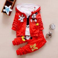 erkek kış kıyafetleri toptan satış-Çocuk Kız Erkek Moda Giyim Setleri Sonbahar Kış 3 Parça Suit Kapşonlu Coat Giyim Bebek Pamuk Eşofman