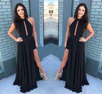 Wholesale elegant silk backless halter dress - Elegant Black Keyhole Neck Long Prom Dresses Sexy Hollow Out Thigh High Side Split Prom Evening Gowns Cheap Party Gowns
