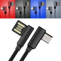 micro usb a la derecha al por mayor-USB trenzado de 90 grados C Micro tipo correcto de carga rápida sincronización de datos del cable del cargador para los teléfonos Samsung LG Android