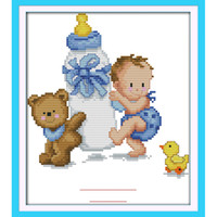 Wholesale abstract bottles painted for sale - Group buy The Bottle baby s birth certificate blue Pattern Counted Printed on Canvas DMC CT CT Chinese Cross Stitch kit Needlework Embroidery
