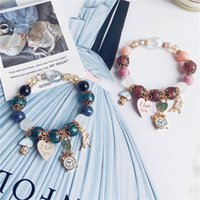 Wholesale Family Christmas Party - Bohemia name family wind natural stone crystal girl clock love alphabet lock pendant string hand chain hand string