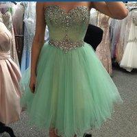 minze grünes schatzkleid großhandel-Echt Fotos Mintgrün Kurze Prom Homecoming Kleider 2019 Perlen Kristall Schatz Mini Tüll. Klasse Abschlussfeier Kleid
