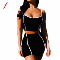 tops de tiras chicas al por mayor-Feitong Sexy Women Set de ropa 2018 Summer Ladies Girls Strappy Shirt Tops sin mangas + falda Bodycon de dos piezas Outfit 50