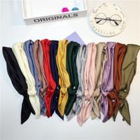 Wholesale 70x70 CM Satin Scarves Small Imitation Silk Scarves Pure Colors Women Fashion Neckerchief Headband Colors
