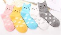 Wholesale Korean Wholesale Socks - Candy color cat footprints Cute cartoon sox Autumn Summer South Korean big girl Fashion Cotton tube Socks meias soks