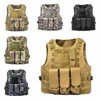 Wholesale camouflage waistcoat - Tactical Vest Amphibious Battle Military Molle Waistcoat Combat Assault Plate Carrier Vest Hunting Protection Vest Camouflage