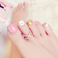 ingrosso polvere coreana-Patch in toenail rosa moda giapponese e coreano Durable Waterproof Manicure Powder Diamante in oro bianco