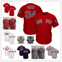 Wholesale cooler big - Mens white #34 David Ortiz Retirement Day Patch jersey stitched red grey David Ortiz Nickname Big Papi Cool base Jersey S-3XL