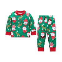 Wholesale clothing sets claus for sale - Baby Boys Clothing Sets Christmas Day Santa Claus Elk Dinosaur Cartoon Printed Long Sleeve O neck Winter Indoor Home Clothing Infant Outfit