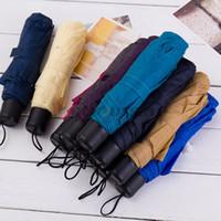 Wholesale blue umbrella short - Portable Alloy Foldable Umbrella Couple Short Handle Umbrella Mini UV Protection Fold Compact Sun 3 Fold