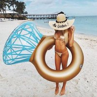 Wholesale floating pool mats - Adult Summer Water Beach Inflatable Diamond Ring Shaped Swimming Ring Swim Circle Floating Mat Pool Party