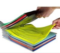 Wholesale multi layer t shirt - Creative Multi Function Clothes Storage Rack System File Shelf Divider Organizer Ezstax T Shirt Folder Storage Holders 10 5cc Y