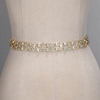 kurdelalı gelin kuşak kayışı toptan satış-El yapımı Kristal Düğün Kemerler Altın Gümüş Rhinestone Gelinlik Kemer Resmi Düğün Aksesuarları Gelin Şerit Kanat Kemer CPA1393