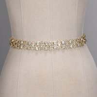 Wholesale bridal wedding dress rhinestone online - Handmade Crystal Wedding Belts Golden Silver Rhinestone Wedding Dress Belt Formal Wedding Accessories Bridal Ribbon Sash Belt CPA1393