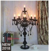 lüks masa lambaları oturma odası toptan satış-Avrupa lüks siyah kristal masa lambası oturma odası yatak odası başucu düğün lamba dekorasyon dekoratif lambalar ZT0061