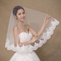 Wholesale stocking charm - In Stock One Layer Lace Short Bridal Veils Appliques Lace Edge Custom Made Elegant Wedding Veils Charming Bridal Accessories