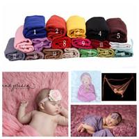neugeborene foto-outfits großhandel-90 * 180 cm Neugeborenen Fotografie Requisiten gewickelt handtücher Kostüm Outfit Lange Weiche Foto Wrap Passenden babydecken FFA885 60 stücke