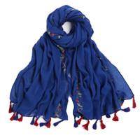 foulard femme foulard brodé châle pour les femmes de l Inde écharpes châle  hiver pashmina foulard en voile de coton marque de luxe 2018 nouveau  D18102905 e490e54a856
