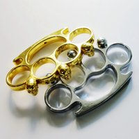 Wholesale grips tools - 2pcs KNUCKLE DUSTER Gold plating silver self defense tool brass knuckle clutch