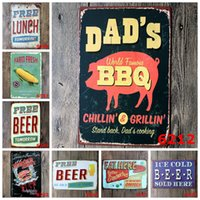 Wholesale Bbq Signs - 20x30cm free beer eat lunch bbq Retro Iron painting metal tin signs wall decoration plaque vintage metal painting pub bar home craft decor