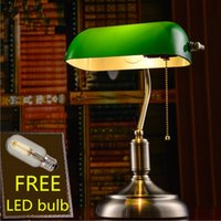 Wholesale modern lamp china resale online - E27 LED China Retro antique brass green glass shade Table Lamps lights for study room living room bank office book student desk lamps light