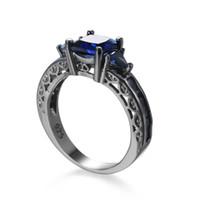 ingrosso uomini anello zaffiro nero-Fashion Prong Blue Sapphire Cubic Zirconia Black Gold Plated Ring Size 6/7/8/9/10 Donna Uomo fidanzamento Jewlery