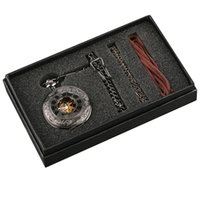 erkekler steampunk saatler toptan satış-Cep İzle için erkek Steampunk El Sarma Mekanik Siyah Cep İzle Fob Kolye Mens Womens Kutusu Çantası