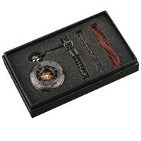reloj steampunk mecánico negro al por mayor-Reloj de bolsillo para hombre Steampunk Hand Winding Mechanical Reloj de bolsillo negro Fob Pendant Mens Womens Box Bag